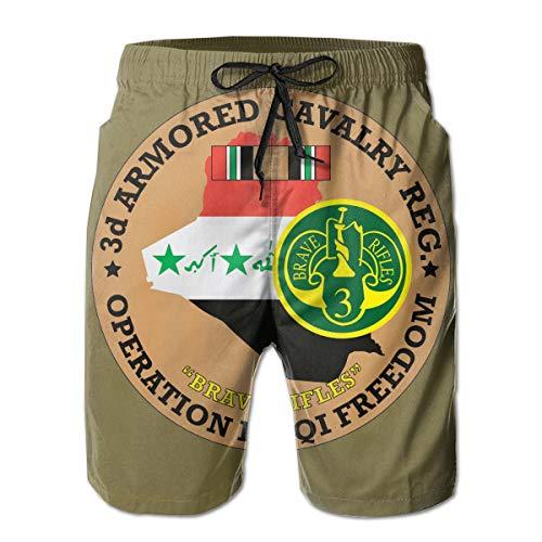 3rd Armored Cavalry Regiment 3D Print Men's Beach Shorts Swim Trunks Workout Shorts Summer Shorts White ()