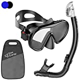 Dive Energy Adult Dry Snorkel Set- Anti-Fogging Protection & Tempered Glass - Clear View Scuba Diving Mask and Easy Breathing No Leaks Snorkel + Carry Bag (Black)