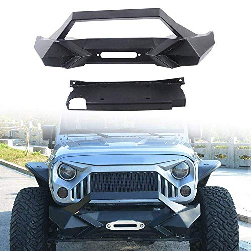 MAIKER Jeep Wrangler Front Bumper w/Winch Plate for 2007-2017 Jeep Wrangler JK Black Textured