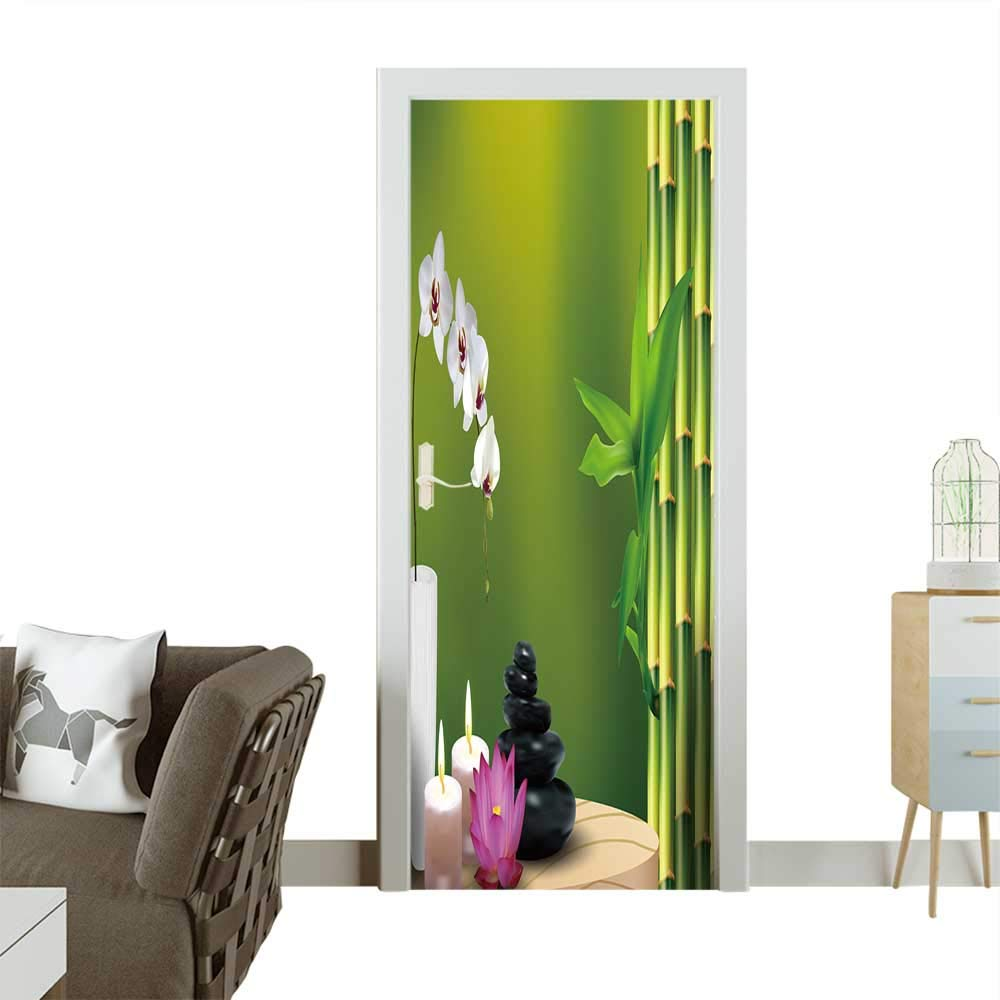 Homesonne Door Decals Bamboo,Flower,Stone,Wax on The Table Vector Pressure Resistant W31 x H79 INCH