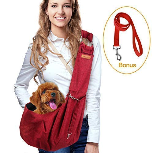 Dog Sling Pet Carriers, Hands free Waterproof Lightweight Shoulder Carrier Bag with Dog Leash Pocket and Adjustable Lengthened Strap for Small Medium Cat/Puppy/Rabbit up to 16lb Outdoor Travel