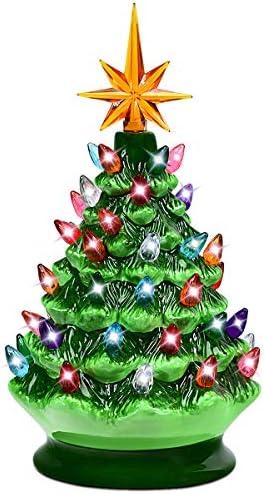 Goplus Árbol de Navidad Artificial de cerámica Pintada a Mano ...