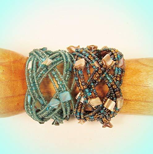 Set Of 2 Wide Aqua Color Handcrafted Shell Chip Braided Seed Bead Cuff Bracelets (Rhinestone Bracelets Wholesale)