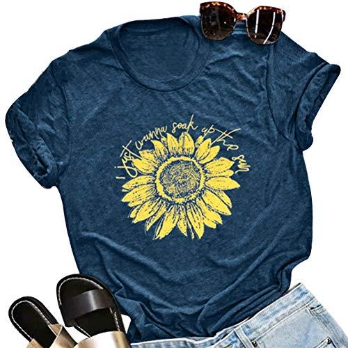(Enfei Women I Just Wanna Soak Up The Sun Sunflower T-Shirt Cute Graphic Tee Teen Girls Casual Short Sleeve Shirt Tops Navy)