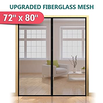 Upgraded 72u0026quot;x80u0026quot; Magnetic Screen Door for French Door Durable Fiberglass Mesh Curtain  sc 1 st  Amazon.com & Upgraded 72