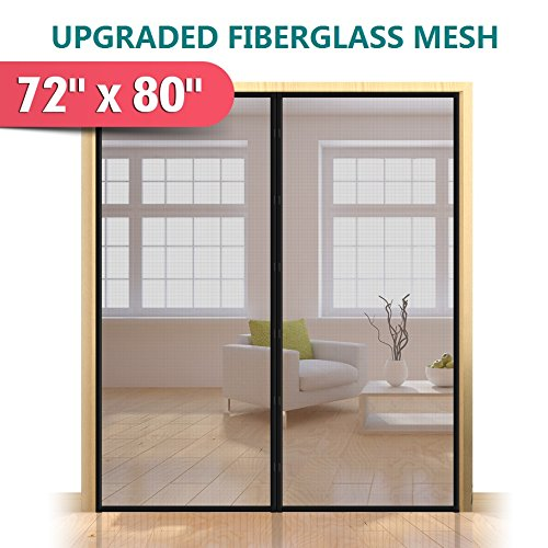 "Upgraded 72""x80"" Magnetic Screen Door for French Door, Durab"