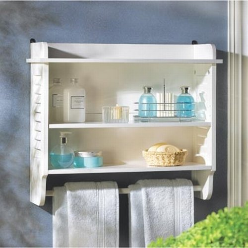 Nantucket Home White Bathroom Wall Shelf Towel Holder