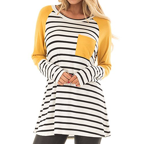 Londony ♥‿♥ Clearance Sales 815 Tops for Women Stripe Printed Color Block Pocket Sweatshirt Long Sleeve Casual T-Shirt