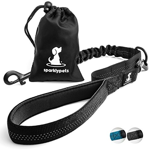 3 in 1 Short Dog Leash - Shock-Absorbing Bungee with Padded Handle - Elastic Attachment for Your Regular Leash, Control Handle, or Traffic Leash – Suitable for Medium and Large Dogs (Black)