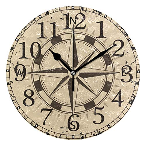 Wall Clock Boat Compass with-Brown Round Acrylic Clock Black Large Numbers Silent Non-Ticking 9.45
