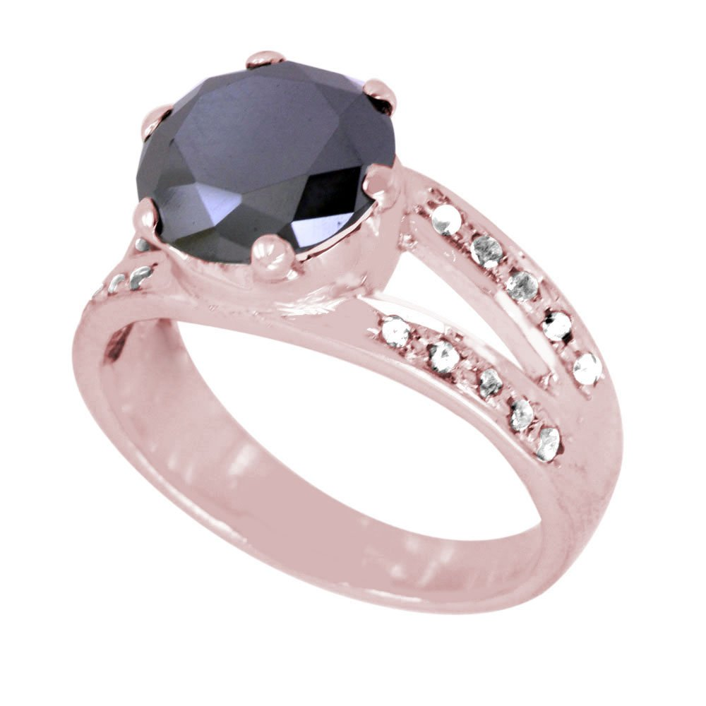 Certified 3.45 Ct Round Black Diamond with Diamond Accents Silver Ring for Birthday Gift