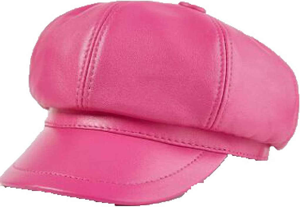 Feisette Mens Newsboy Caps Fall Duckbill Visor Octagonal Hat Leather Retro Newsboy Hats Autumn Winter Warm Beret Cap