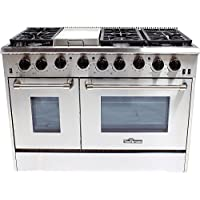 Thor Kitchen 48 Inch 6 Burner Gas Range with Griddle in Stainless Steel