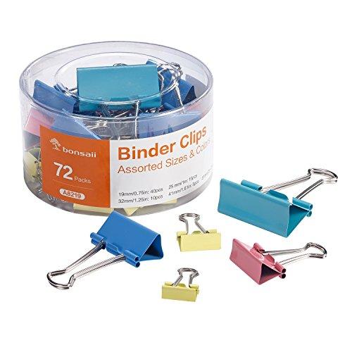 Bonsaii Binder Clip with Assorted Colors, Assorted Sizes, 72 pcs Per Tub (Acco Plastic Labels)