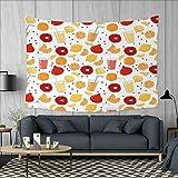 Modern Art Wall Decor Fruits Pomegranate Orange Juice Kitchen Lemon Sweet Yummy Food Artsy Illustration Tapestry Wall Tapestry W60 x L51 (inch) Apricot Ruby