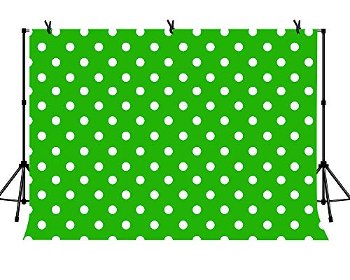 LYLYCTY 7x5ft Party Ideas Backdrop Green and White Dots Background for Golf Balls Theme Baby Shower Birthday Party Banner Photo Studio Props -