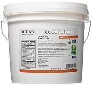 Nutiva Organic, Neutral Tasting, Steam Refined Coconut Oil from non-GMO, Sustainably Farmed Coconuts, 1 Gallon