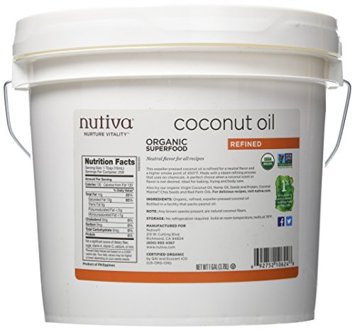 - Nutiva Organic, Neutral Tasting, Steam Refined Coconut Oil from non-GMO, Sustainably Farmed Coconuts, 128 Fl Oz