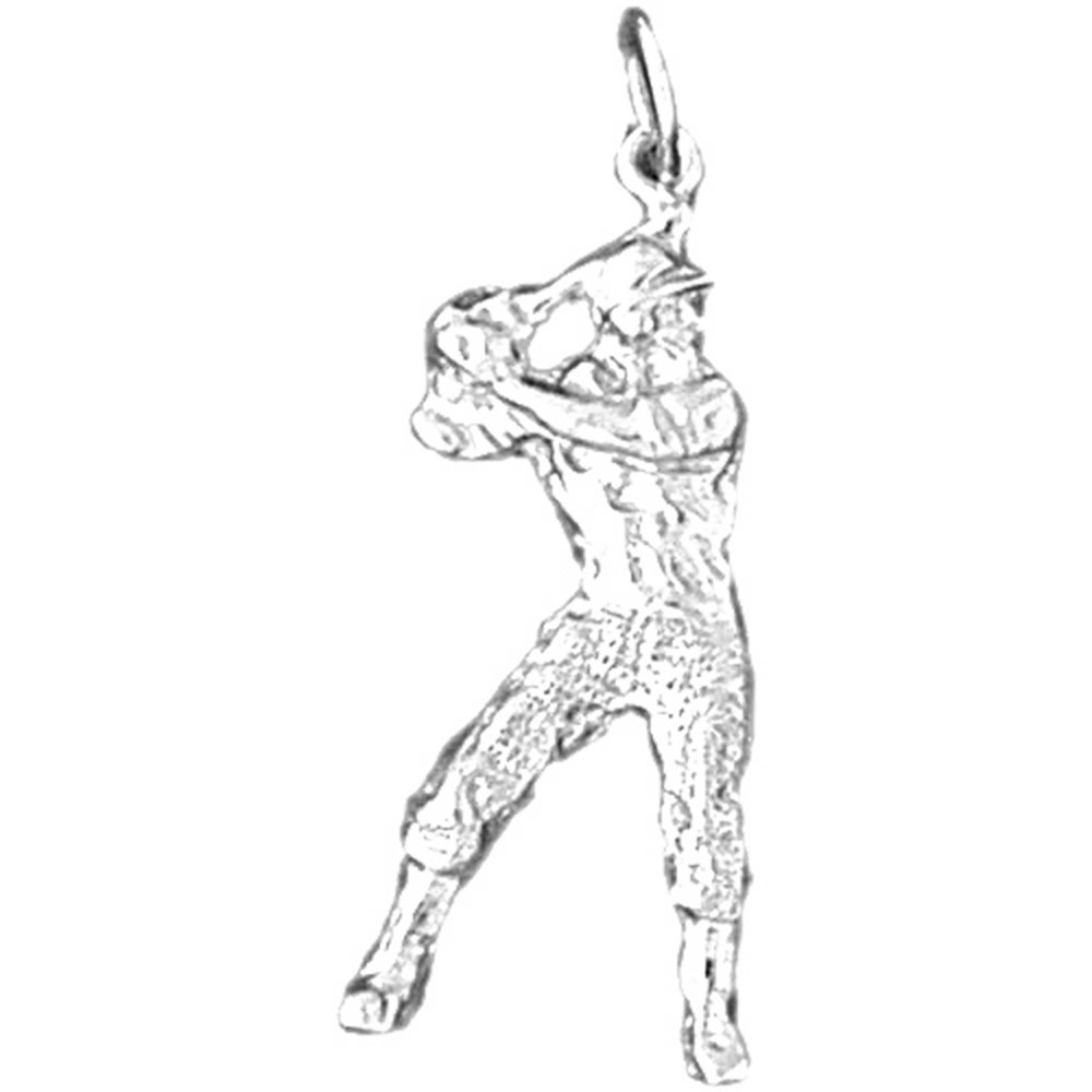 Rhodium-plated 925 Silver Baseball Player Pendant with 18 Necklace Jewels Obsession Baseball Player Necklace