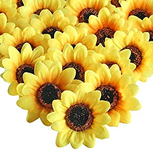 """XYXCMOR Silk Sunflowers Heads 50pcs 2.8"""" Sunflowers Artificial Flowers Gerber Daisies Flores Petals for Wreath Wedding Party Fall Craft Decorations Yellow 1"""