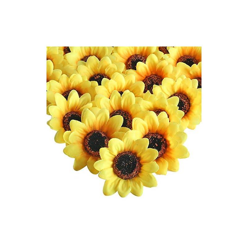 "silk flower arrangements xyxcmor artificial silk sunflower heads 50pcs 2.8"" fake sunflower flowers gerber daisies flores petals for wreath wedding party fall craft decorations yellow"
