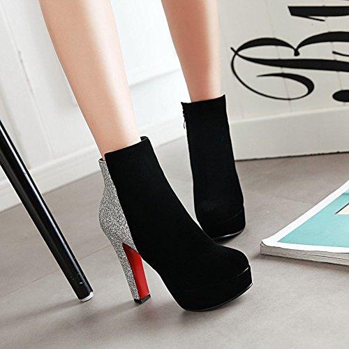 Carolbar Womens Plus Size Zip Pailletten Platform Hoge Hak Jurk Laarzen Zwart