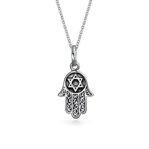 cd52a091cbf8 Hamsa Mano De Dios Estrella de David Colgante Collar de filigrana de plata  esterlina negro  Amazon.es  Joyería