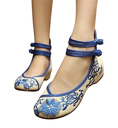 SMITHROAD Damen/Mädchen Mary Jane Halbschuhe Slipper Stickmuster mit Riemen High Top Sandalen Schwarz Rot Grün Gr.34-41 Blumen02 Muster Blau