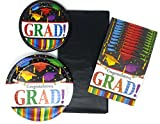 Graduation Party Paper Plates Napkins and Tablecloth Bundle of 4, Service for 16