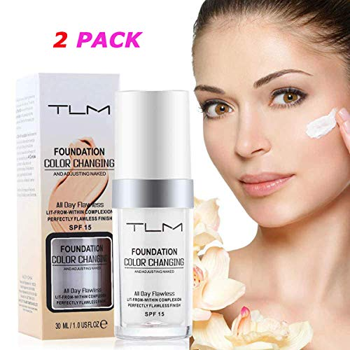2PACK TLM Concealer Cover, Flawless Color Changing Liquid Foundation Warm Skin Tone Makeup Base Nude Face Liquid Cover Concealer Skin Tone Moisturizing Cover for women&girls (Best Flawless Liquid Foundation)
