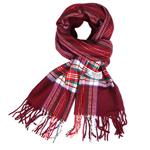 Plaid Cashmere Feel Classic Soft Luxurious Winter Scarf For Men Women (Tartan Burgundy)