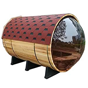 ALEKO SB7ABPI Pine Wood Barrel Sauna with Transparent Wall for 7 People