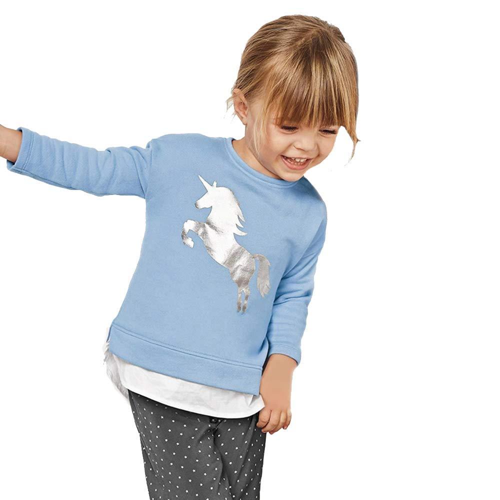 Girl Unicorn | Silver Unicorn Casual Top for Little Girls' Youth Long Sleeve Toddler Kids T-shirt Sweatshirts 1-7T