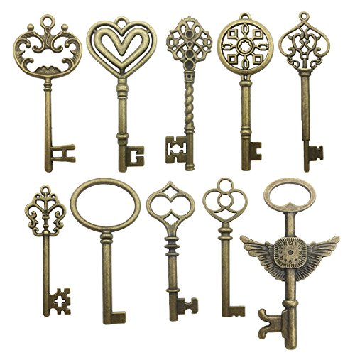 (20 PCS Big Skeleton Key Charms Collection - Mixed Antique Bronze Steampunk Angel Wedding Heart Key Metal Pendants for Jewelry Making DIY Findings (20 Bronze Key HM106))