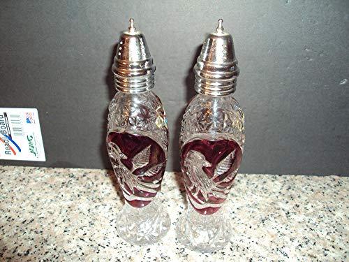 (Vintage Hofbauer Red Byrdes Bird Salt Pepper Shakers German Lead Crystal)
