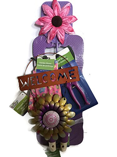Purple Rake - Mother's Day 7-Piece Gardening Tool (Purple) Gift Set: Purple Handle Shovel, Rake, Floral Shears, Kneeling Pad, Multi-Color Gardening Gloves, Welcome Sign and Sunflower Fly Squatter!