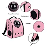 MESASA Pet Carrier Backpack Space Capsule PU Leather Dog Cat Small Animals Travel Bag Pink