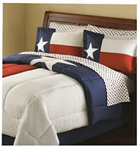 QUEEN Lone Star Texas state Flag Bed in a Bag Bedding Set comforter plus sheets