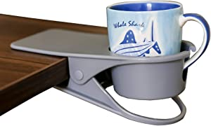 SunnyZoo Drinking Cup Holder Clip Home Office Table Desk Side Clip Water Drink Beverage Soda Coffee Mug Holder Cup Clip Design (Grey)