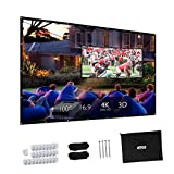 100 Inch Projector Screen - Projector Screen, Upgraded 100 inch 4K 16:9 HD Portable Projector Screen, Premium Indoor Outdoor Movie Screen Anti-Crease Projection Screen for Home Theater Backyard Movie Office Presentation.