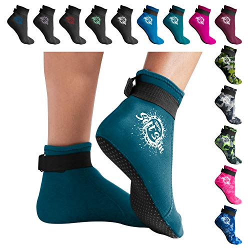 BPS 'Soft Skin' 3mm Neoprene Socks with Grip - Comfortable Fit - for Swim fin, Beach Volleyball, Scuba Diving, Surfing, Snorkeling, Diving, Kayaking - Low Cut (Tropical Teal, - Neoprene Comfortable
