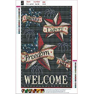5D DIY Full Drill Diamond Embroidery Paintings Happy Independence Day Diamond Painting Kits for Adults 11.815.7 Inch: Clothing