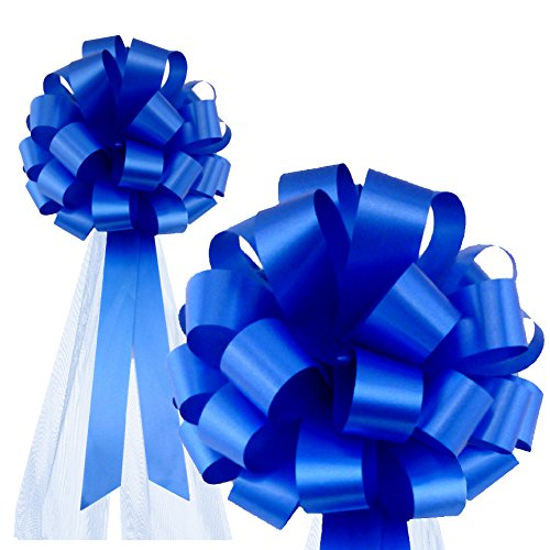 Royal Blue Wedding Pull Bows with Tulle Tails - 8