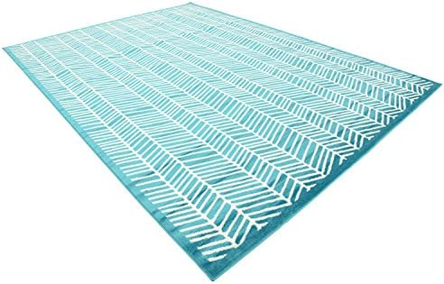Unique Loom Metro Collection Modern Feathered Abstract Lines Turquoise Area Rug 9 0 x 12 0