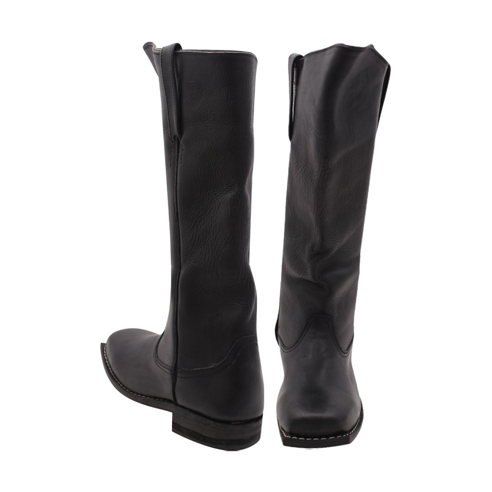 10Code Men's Black Civil war Cavalry Leather Long Boots