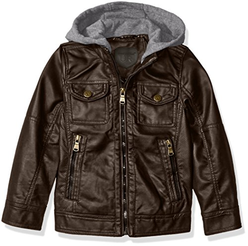 Urban Republic Boys' Faux Leather Jacket with Perforated Inserts and Fleece Hoodie