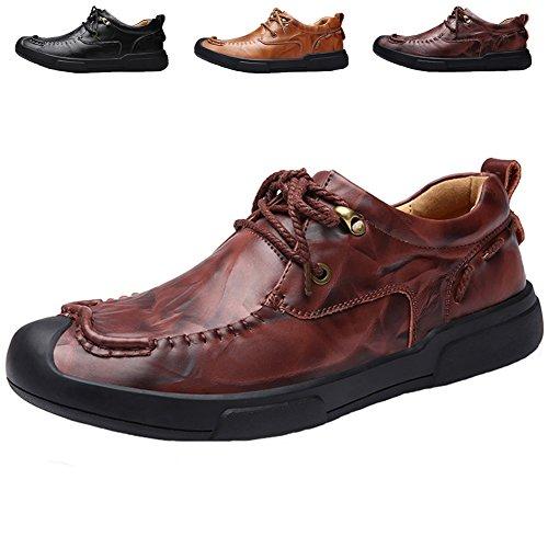 Läder Oxford Skor För Män, Jions Tillfälliga Snörning Finskor Halka På Lägenheter Mockasiner Klassiska Båt Skor C Rött
