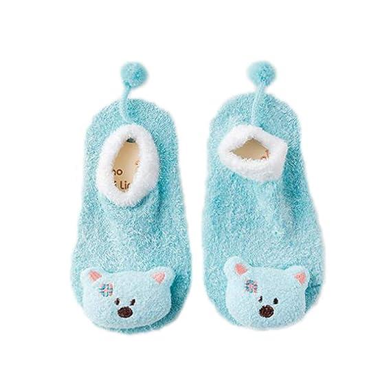 Kewing Bebé De Dibujos Animados Antideslizante Zapatos De Bebé Calcetines De Dibujos Animados Mullidos Calcetines Invierno
