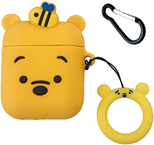 Honey Winnie Airpods Case,Cute 3D Cartoon Winnie The Pooh Case for Apple Airpods, 3-in-1 Airpods Accessories Shockproof Protective Silicone Cover and Skin for Apple Airpods 2&1 Charging Case