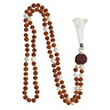 Healing Meditation Mala Rudraksha Beads Pearl Necklace 108+ 1 Beads